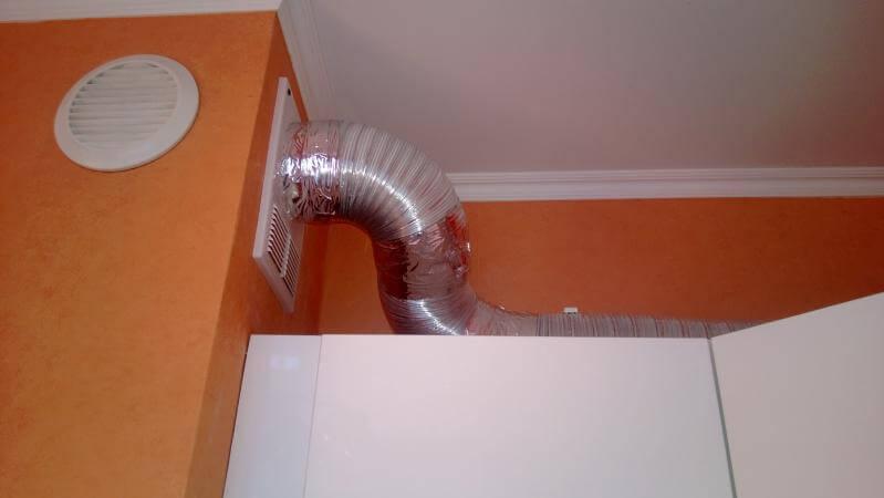 Установка вентилятора с прокладкой гофры до 1 метра цена