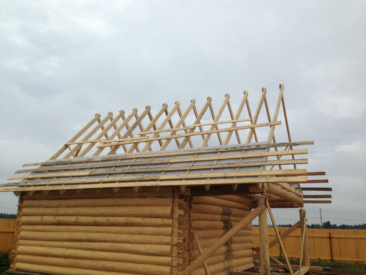 Строительство двухскатной крыши своими руками фото