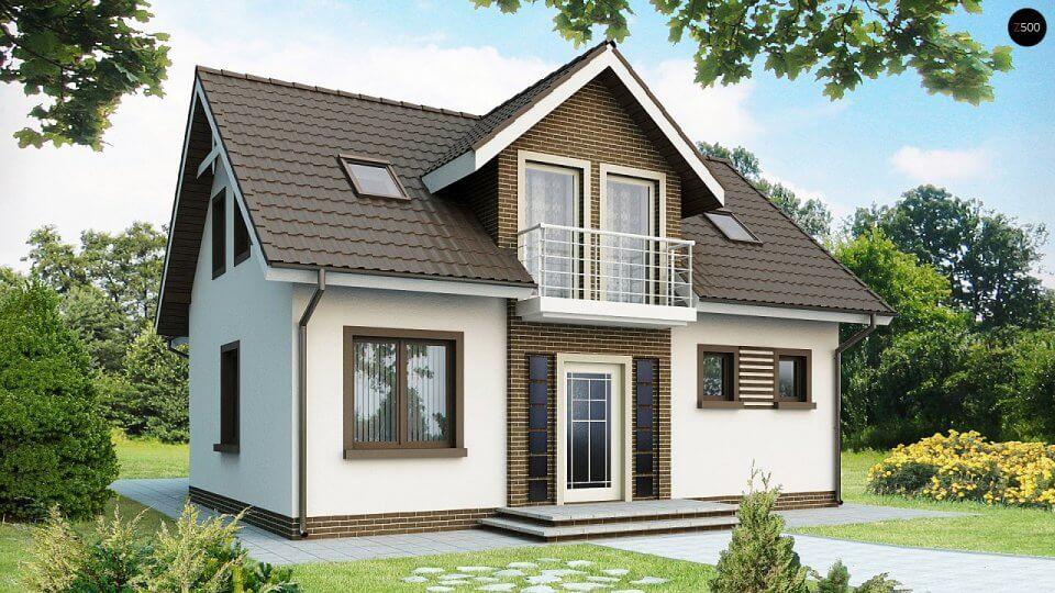 Двухэтажный дачный дом из бруса 6*6 м, с балконом (сосна
