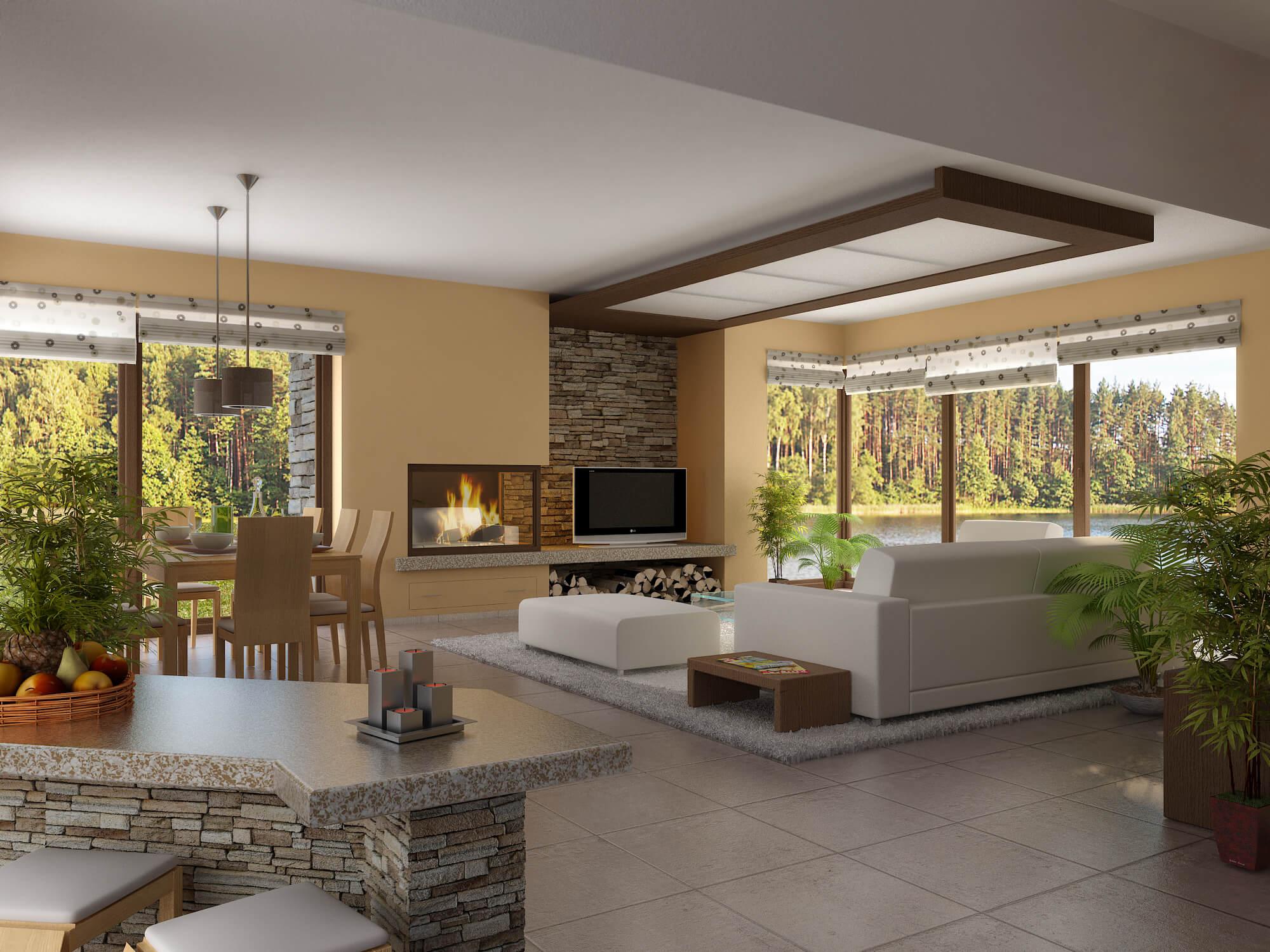 Дизайн частного одноэтажного дома внутри с